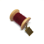 Handmade Brooch: Small Thread Spool (Plain Maroon) by Doe & Audrey