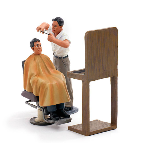Street Barber and Customer Figurines