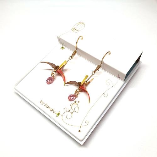 Fashion Accessories  Paper Crane Earrings Red by Sandra My Paper Earrings