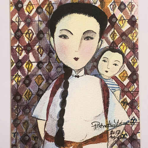 Original Heritage Painting: Majie with a Child by Patrick Yee