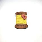 Handmade Brooch: Flat Thread Spool (Plain Yellow 2) by Doe & Audrey