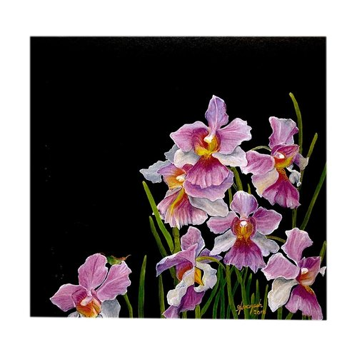 Sketches Of Singapore Series Orchid Postcard - Vanda Miss Joaquim by Glacy Soh