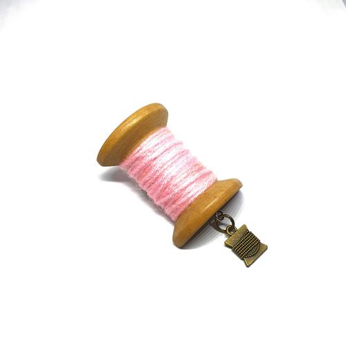 Handmade Brooch: Large Thread Spool (Pink 2) by Doe & Audrey