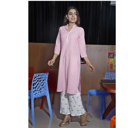 Pink printed kurti palazzo set of 4 sizes