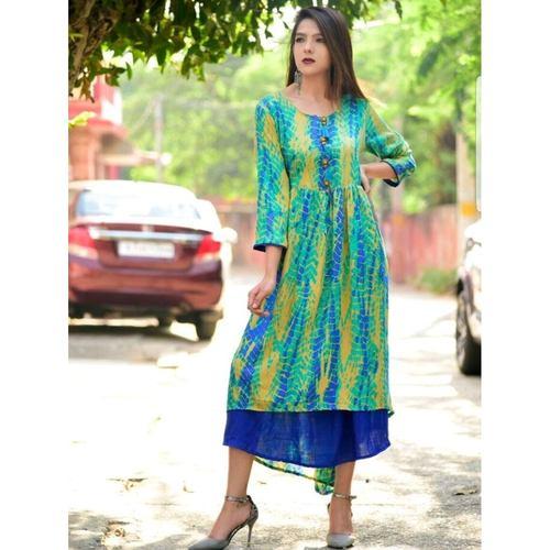 Blue rayon printed dress set of 4 sizes