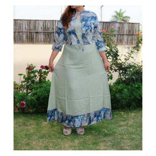 Grey printed gown with jacket set of 4 sizes