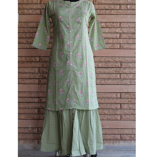 Green embroidered kurti palazzo set of 4 sizes