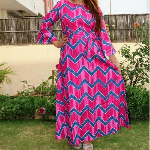 Cotton embroidered  gown with belt set of 4 sizes