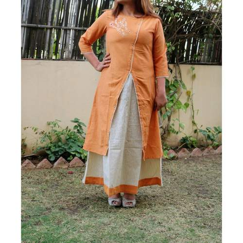 Chanderi Embroidered Orange Dress set of 4 sizes