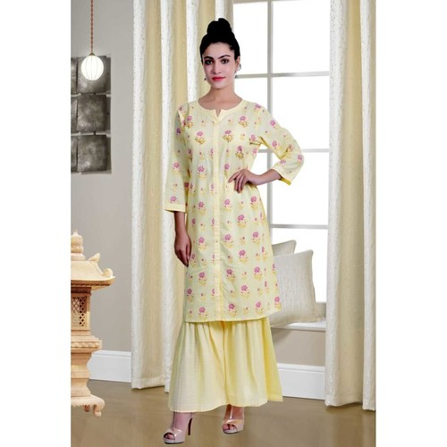 Yellow embroidered kurti palazzo set of 4 sizes