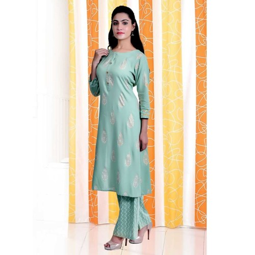 Green printed kurti pant set of 4 sizes