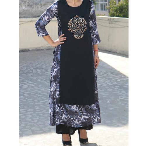 Rayon Printed/Embroidered Gown set of 3 sizes