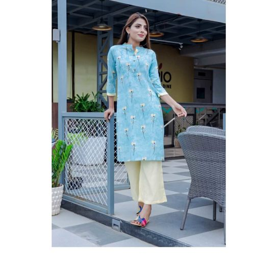 Cotton printed Kurti Palazzo Set of 4 sizes