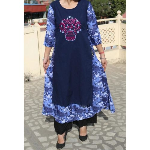 Rayon Embroidered/Printed Gown set of 4 sizes
