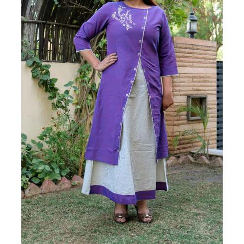 Chanderi Dark Purple Dress set of 4 sizes
