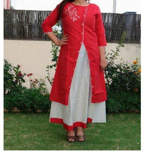 Chanderi Red Dress set of 4 sizes