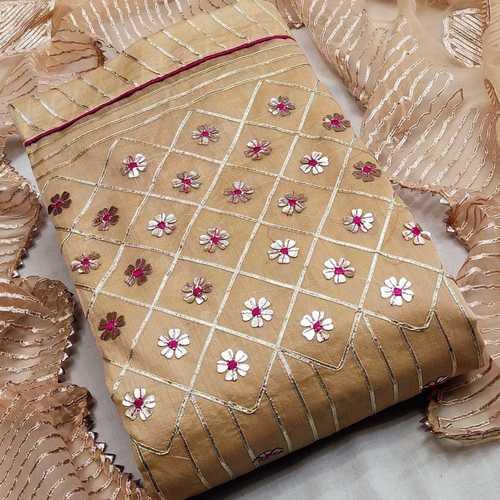 SL Fashion Top chanderi Silk Dress Material (Golden)