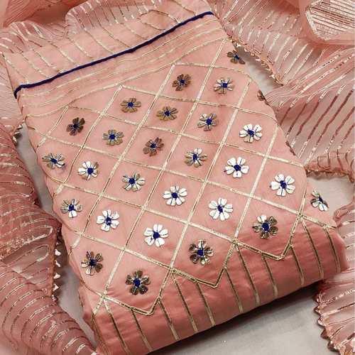 SL Fashion Top chanderi Silk Dress Material (Peach)