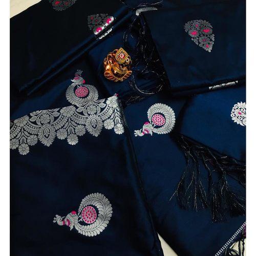 SL Fashion  Lichi Silk Saree (Blue)