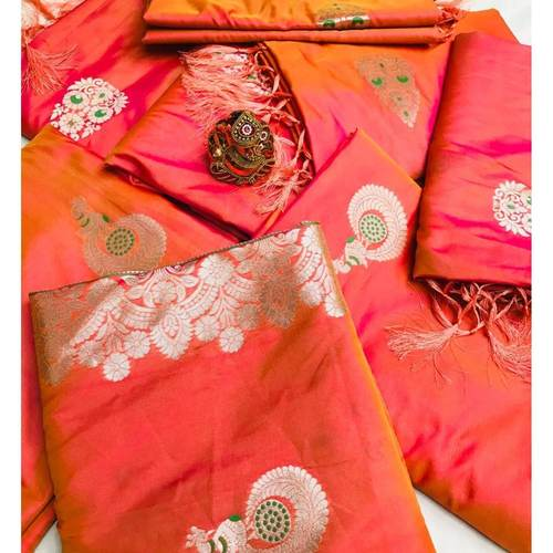 SL Fashion  Lichi Silk Saree (Orange)