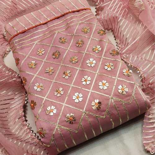 SL Fashion Top chanderi Silk Dress Material (Onion Pink)