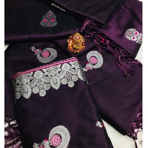 SL Fashion  Lichi Silk Saree (Purple)