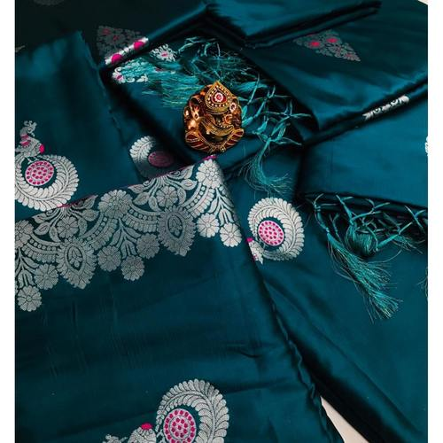 SL Fashion  Lichi Silk Saree Turkish Blue