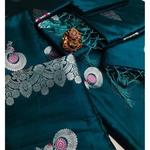 SL Fashion  Lichi Silk Saree Turkish Blue