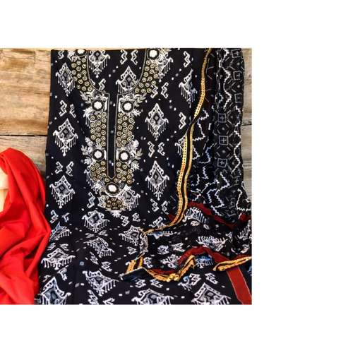SL Fashion Printed Suit with Chiffon/Kota Silk Dupatta (Red & Black)