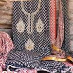 SL Fashion Printed Suit with ChiffonKota Silk Dupatta Black & Red