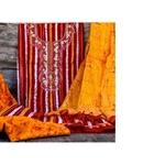 SL Fashion Printed Suit with ChiffonKota Silk Dupatta Red & Orange