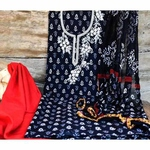 SL Fashion Printed Suit with ChiffonKota Silk Dupatta Red & Black