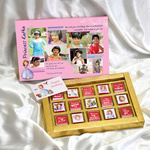 Birthday Collage Pink Gift Box , Personalized Assorted Chocolate 2 Bars + 9 Cubes