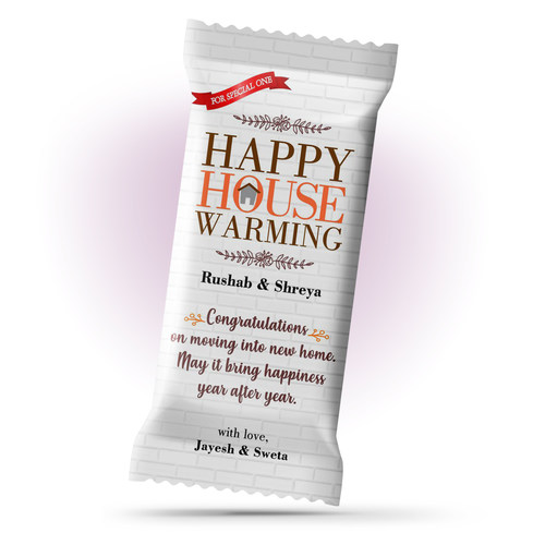 Grah Pravesh House Warming Gift, Personalize Chocolate Large Bar 100g