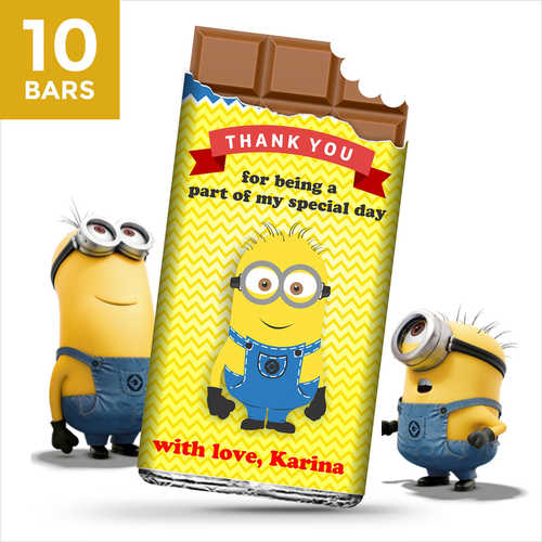 Birthday Return Gifts, Minion Personalize Chocolates -10 Bars