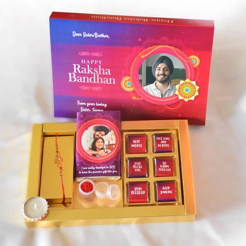 Raksha Bandhan Gift Box for Brother, Personalized Assorted Chocolate Rakhee, Diya, Kumkum, Chawal + 1 Bars + 6 Cubes
