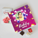 Birthday Gift Box, Personalized Assorted Chocolate (9 Cubes) + Greeting Card