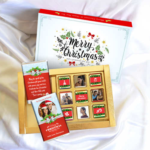 Christmas Gift Box, Personalized Assorted Chocolates 2 Bars + 9 cubes