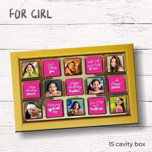 Birthday Gift, Personalized Chocolate Pink & Blue Box