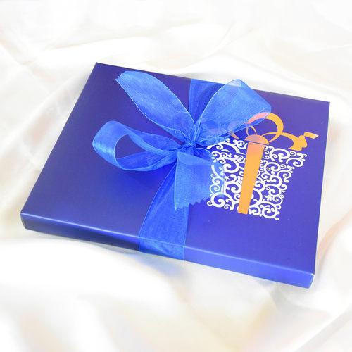 Raksha Bandhan Blue Gift Box, Personalized Assorted Chocolate 1 Bar + 14 Cubes