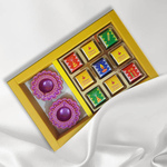 Diwali Gift Box, Persoanlized Assorted Chocolates 2 Diyas + 9 Cubes