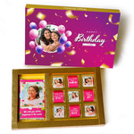 Birthday Gift Box, Personalized Assorted Chocolate 1 Bar + 9 Cubes