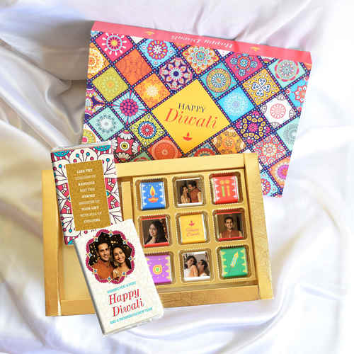 Diwali Gift Box, Persoanlized Assorted Chocolates 2 Bars + 9 cubes