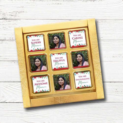 Guru Purnima Gift Box, Personalized Assorted Chocolate (9 Cubes)