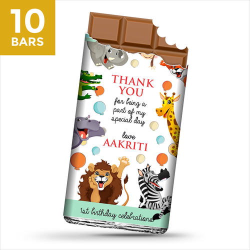 Birthday Return Gifts, Animals Theme Personalize Chocolates -10 Bars