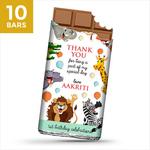Birthday Return Gifts, Animals Theme Personalize Chocolates -10 Bars