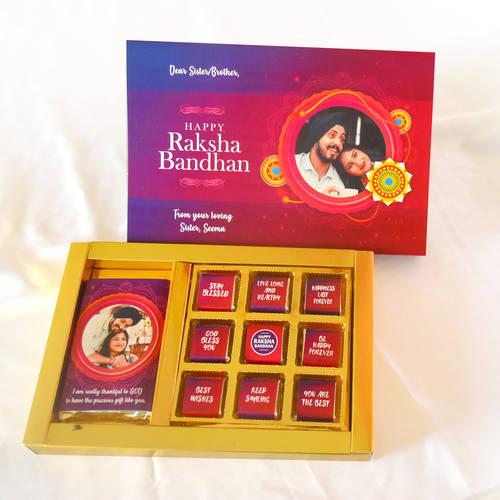 Raksha Bandhan Personalized Gift Box,(1 Bar + 9 Cubes Assorted Chocolate)