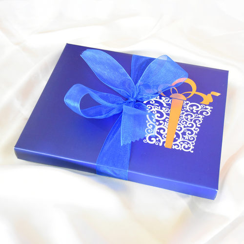 Wedding Anniversary Blue Gift Box, Personalized Assorted Chocolate 1 Bar + 14 Cubes