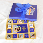 Friendship Day Blue Gift Box, Personalized Assorted Chocolate (1 Bar + 14 Cubes)