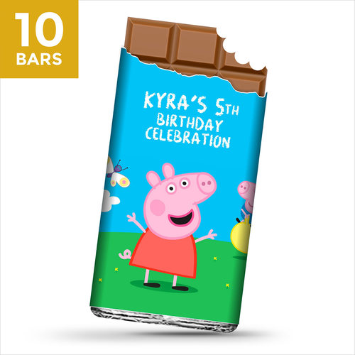 Birthday Return Gifts, Peppa Pig Personalize Chocolates -10 Bars